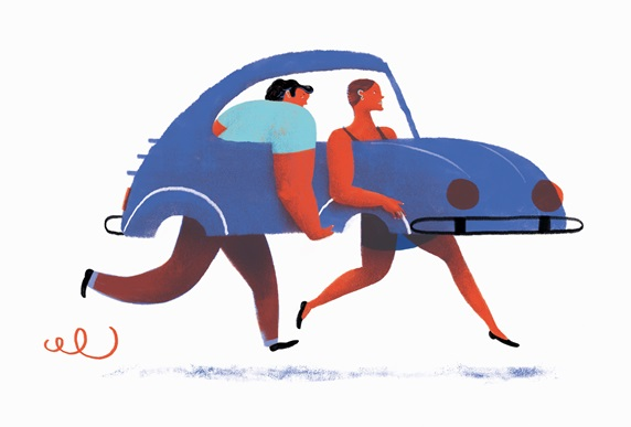Man and woman carrying car with no wheels