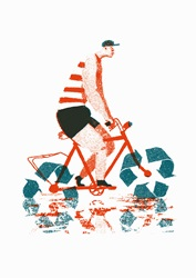 Man riding bike with recycling symbol wheels
