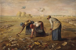 Parody of 'The Gleaners' by Jean-Francois Millet, picking rubbish not wheat