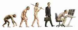Evolution stages of man from walking on all fours back to bent over computer