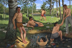 Parody of Bazille's 'Summer Scene' with lots of added rubbish