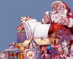 Santa Claus reading christmas wish list surrounded by presents
