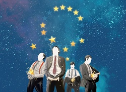 Greedy businessmen catching stars falling from European Union symbol