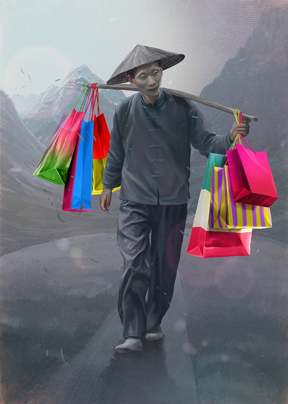 Man wearing traditional Asian clothing carrying colorful shopping bag on mountain road