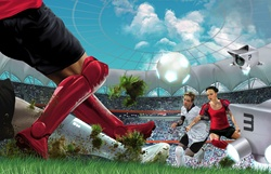 Futuristic game of soccer in stadium