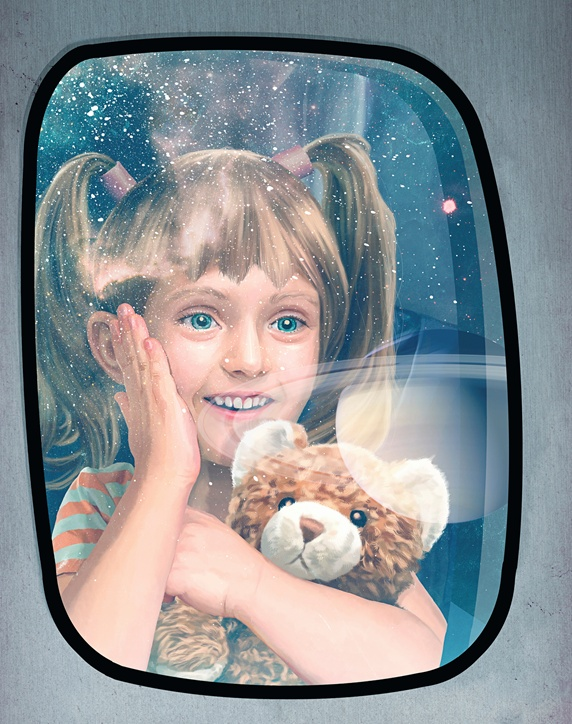 Excited child looking out of window at planets on futuristic space flight