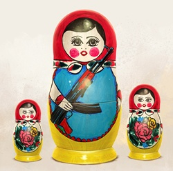 Russian nesting dolls nervously watching large doll holding machine gun