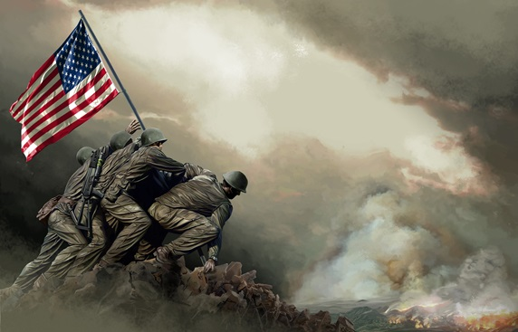 Marine Corps with American flag against clouds