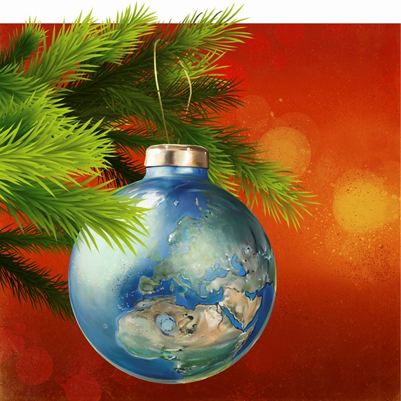 Global world map as Christmas tree decoration