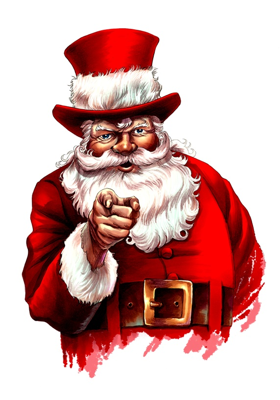 Santa Claus against white background