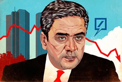 Portrait of businessman with line graph