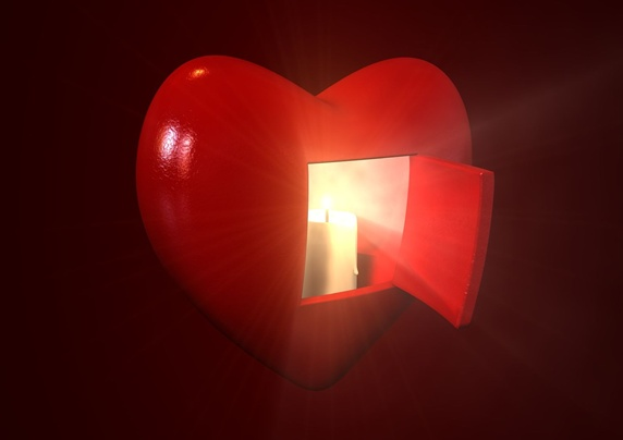 Digitally generated heart shape, light and open door