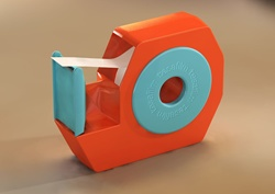 Adhesive tape in turquoise orange plastic box