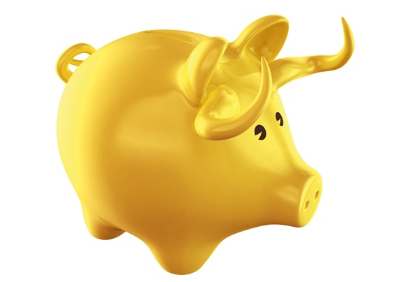 Yellow pig shape money box
