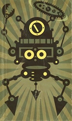 Anthropomorphic machine character on green background