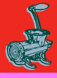 Meat grinder on red