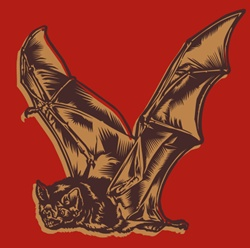 Flying bat on red