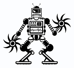 Angry robot on white