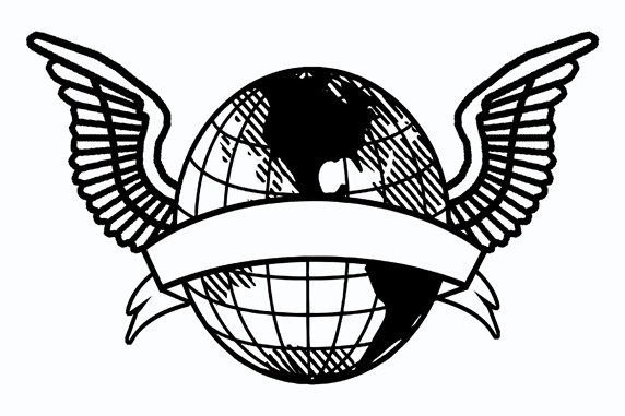 Globe with wings and stripe on white