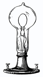Old fashioned light bulb on white