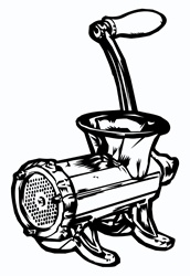 Close-up view of old fashioned meat grinder