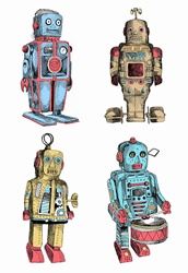 Wind-up toy metal robots