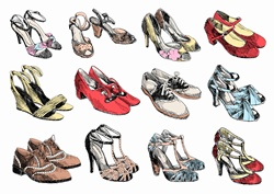 Rows of pairs of women's shoes