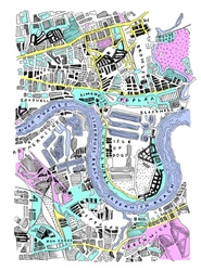 Map of London with Thames River