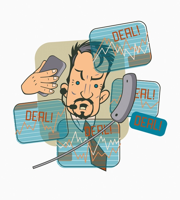 Frantic stock market trader doing deals