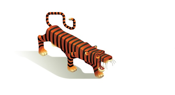Roaring tiger on white background