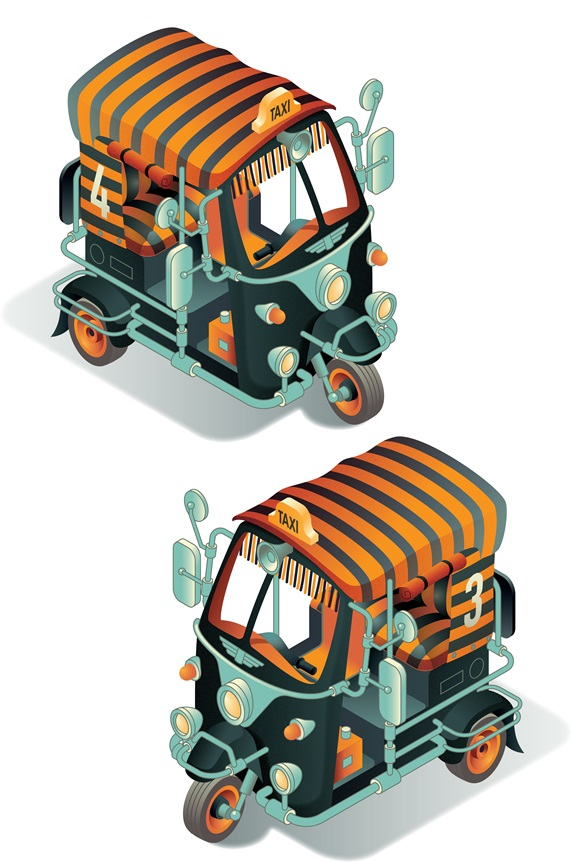 Two rickshaws with striped roofs
