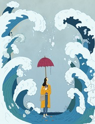 Woman between huge waves with inadequate umbrella