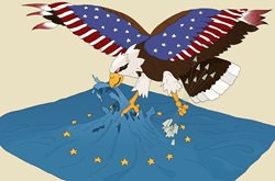 United States eagle attacking European Union flag
