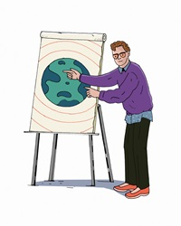 Man pointing to planet earth on flipchart