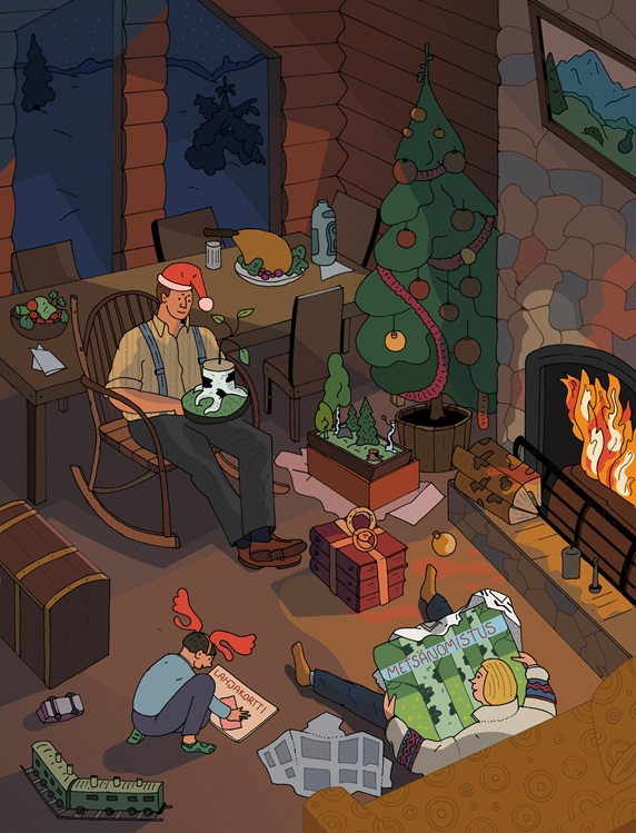 Family with Christmas gifts at fireplace