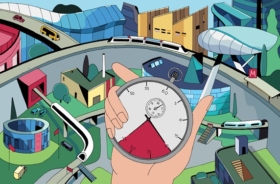 Hand holding stop watch in front of city with elevated trains