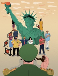 People representing different occupations surrounding Statue of Liberty