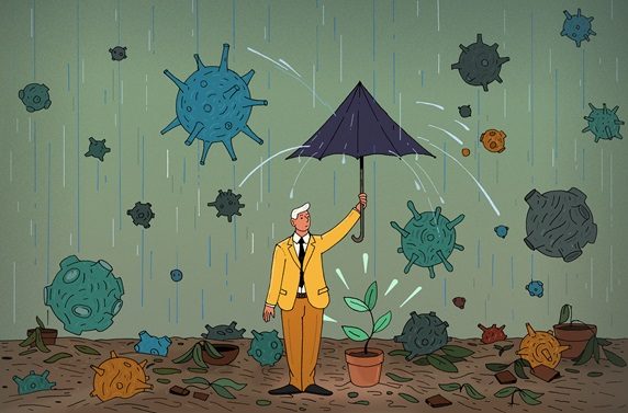 Businessman trying to protect last seedling from coronavirus rain storm