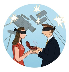 Blindfolded couple holding engagement ring surrounded with movie cameras