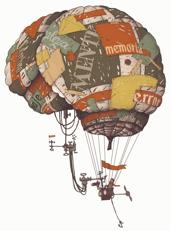 Man flying in brain-shaped hot-air balloon