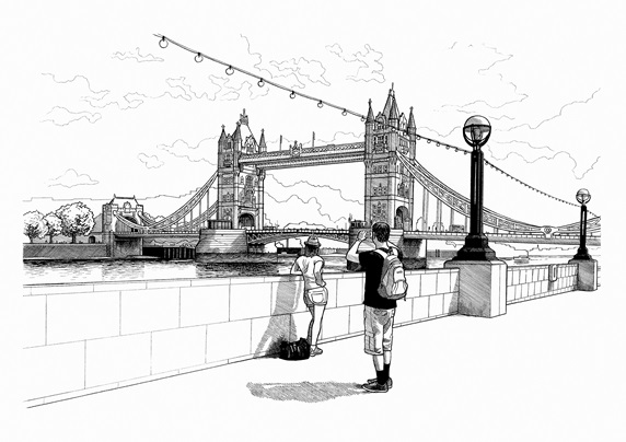 Black and white drawing of tourists photographing Tower Bridge, London