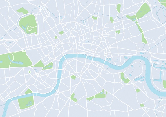 Blank map of the River Thames and London street plan