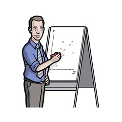 Man standing at flip chart during presentation