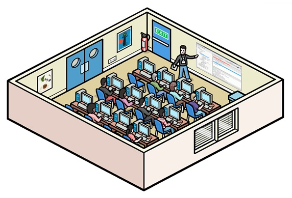 Teacher and students at computer class