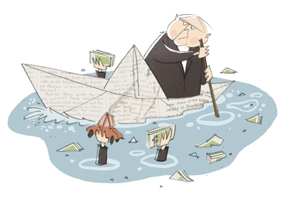 Man sailing in paper boat