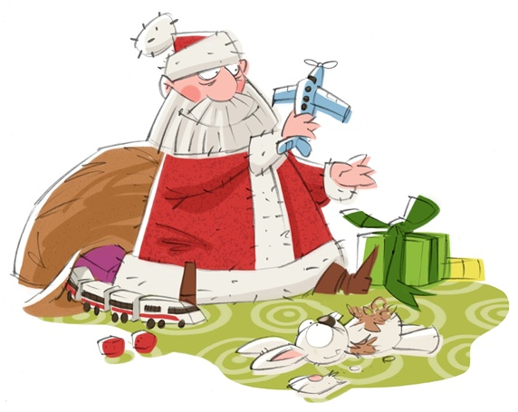 Santa Claus playing with toys