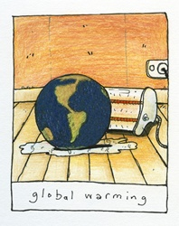 Electric heater heating planet Earth