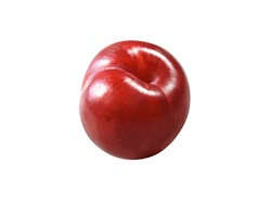 Close up of red apple on white background