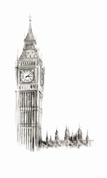 Watercolor painting of Big Ben, London