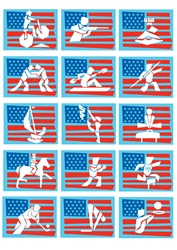 Various olympic sports with american flag in background